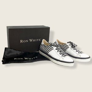 Ron White Baylee Bk&Wt Leather & Gingham Sneakers